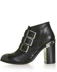 Topshop Premium Leather Ankle Boots With Studded Toe Heel Height Approximately 4 100% Leather Specialist Clean Only