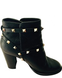 Valentino Black Leather Ankle Boots