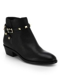 Valentino Rockstud Pebbled Leather Biker Ankle Boots