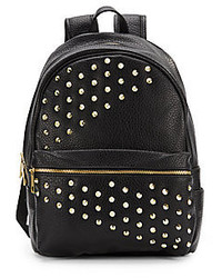 Black Studded Leather Backpack