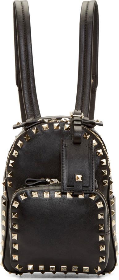 add8f180f3 Valentino Black Leather Rockstud Mini Backpack, $2,175 | SSENSE ...