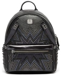 Dual stark studded leather backpack black medium 1027028