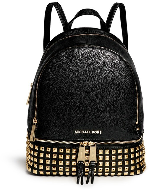 fa7da5ab6991 ... Black Studded Leather Backpacks MICHAEL Michael Kors Michl Michl Kors  Rhea Stud Small Leather Backpack ...