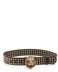 Gucci Feline Studded Leather Belt