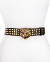 Gucci Studded Leather Tiger Buckle Belt