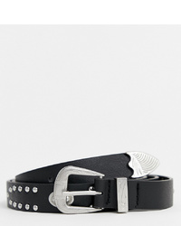ASOS DESIGN Plus Faux Leather Slim Belt In Black With Western And Studding