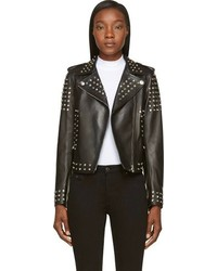 Versace Black Leather Jacket With Silver Studs