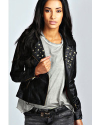 Boohoo Liza Studded Faux Leather Biker Jacket