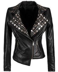 ChicNova Studded Leather Biker Jacket