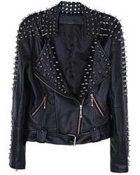 Choies Pu Biker Jacket With Stud