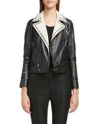 Saint Laurent Contrast Lapel Studded Leather Jacket