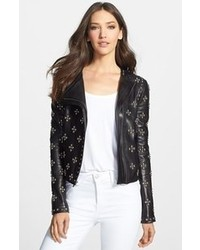 Diane von Furstenberg Cocoa Studded Leather Moto Jacket 12