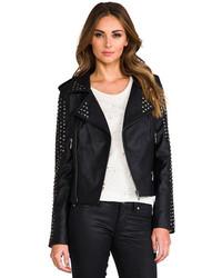 Lovers + Friends Revolve Rhona Embellished Vegan Leather Jacket