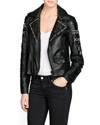 Mango Outlet Premium Beaded Leather Biker Jacket