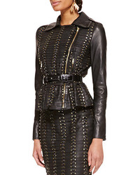 Oscar de la Renta Long Sleeve Studded Leather Jacket Black