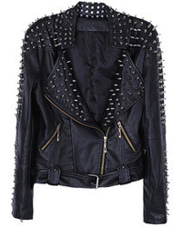 Choies Pu Biker Jacket With Stud