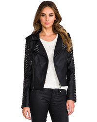 Lovers + Friends Revolve Rhona Embellished Vegan Leather Jacket
