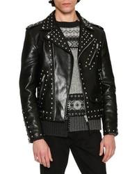 Alexander McQueen Studded Calf Leather Moto Jacket Black