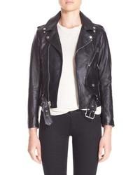 Saint Laurent Studded Lambskin Leather Moto Jacket