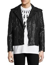 Neil Barrett Studded Leather Biker Jacket Black