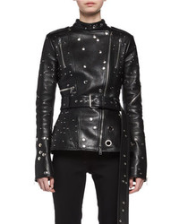 Alexander McQueen Studded Leather Biker Jacket Black