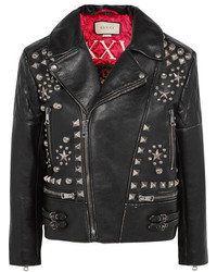 Studded leather biker jacket black medium 5311477