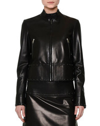 Valentino Studded Leather Biker Jacket Black
