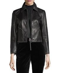 Frame Studded Motorcycle Lamb Leather Jacket