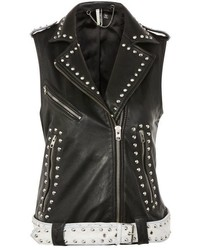 Topshop Studded Sleeveless Biker Jacket