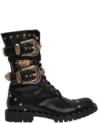 Fausto Puglisi 20mm Buckles Studs Leather Combat Boot