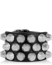 Black Studded Leather Bracelet