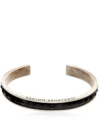 Alexander McQueen Leather Covered Studded Cuff Bracelet