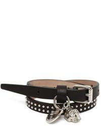 Alexander McQueen Studded Leather Double Wrap Skull Bracelet