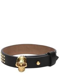 Alexander McQueen Studded Leather Wrap Skull Bracelet