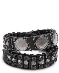 GUESS Black And Hematite Tone Wrap Stud Bracelet