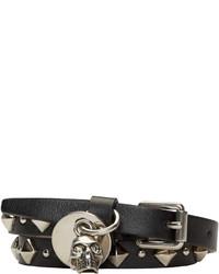 Alexander McQueen Black Leather Studded Double Wrap Skull Bracelet
