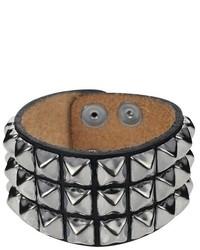 Daxx Pyramid Stud Bracelet In Leather Black