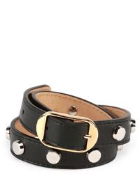 Balenciaga Double Tour Leather Wrap Belt Bracelet Black
