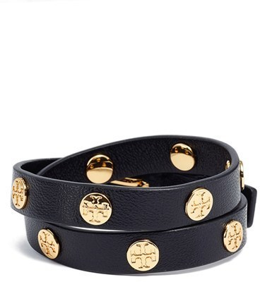 Leather Bracelets Tory Burch Double Wrap Logo Bracelet