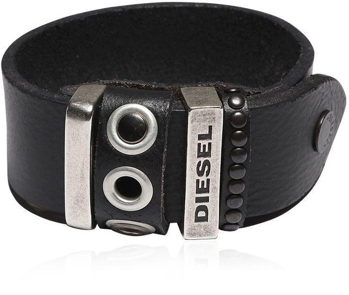 Diesel Leather Bracelet W Studded Details