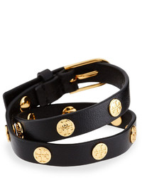 Tory Burch Leather Logo Stud Double Wrap Bracelet