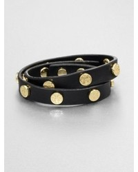 Tory Burch Logo Stud Leather Double Wrap Bracelet