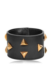 Saint Laurent Triangle Studs Leather Cuff Bracelet
