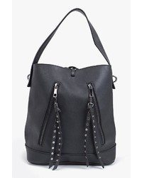Boohoo Boutique Studded Zip Structured Bucket Bag