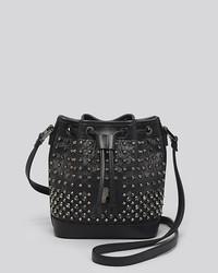 MCM Crossbody Studded Drawstring Bucket Bag