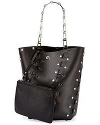 Hex medium studded leather bucket bag black medium 3729660