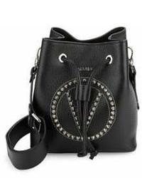 Leon Pebbeled Leather Stud Bucket Bag