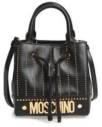 Moschino Studded Leather Bucket Bag Black