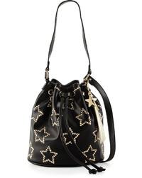 Betsey Johnson Night Lights Star Studded Bucket Bag Black