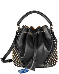 Sara Battaglia Patty Studded Leather Bucket Bag Black